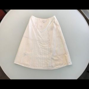 White embroidered, patchwork skirt size 4